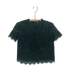 ZARA Green Lace Embroidered Top Sheer Party